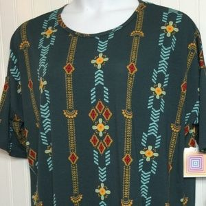 NWT LuLaRoe Irma XL green with blue gold red